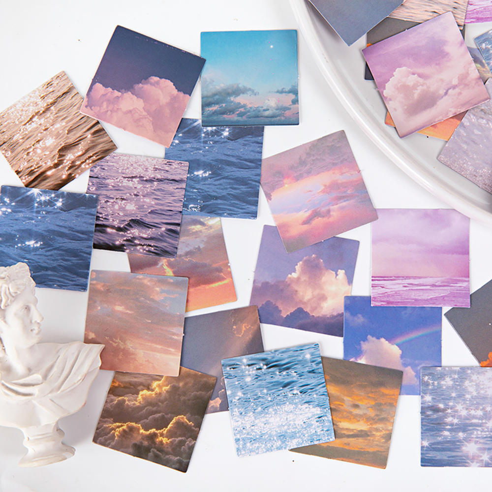 46 Pieces/Box Cloud Between The Star Field Sticker Adhesive Sky Sticker Manual DIY Decorative Seal P
