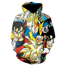 Dragon Ball Mens Autumn Desinger Hoodies Crew Neck 3D Print Homme Clothing Fashion Style Casual Apparel