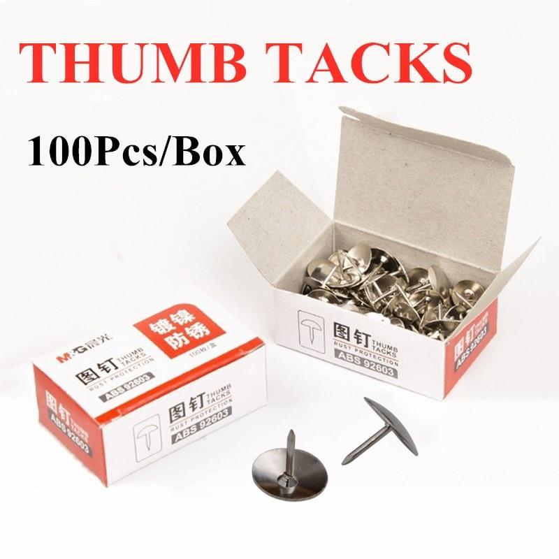 Back Bulletin Board Paper Metal Office 100pcs Thumb Tack Pins Needle Box Message Fixed Bush Rustproof High-quality Abs92603