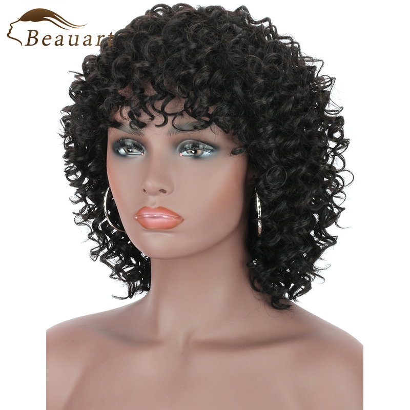 Beauart Remy Human Hair Deep Small Curly Machine Wig 100% Brazilian Wigs for Black Women Natural Curls Full Wig with Hair Bangs