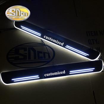 SNCN 4 pièces acrylique mobile LED bienvenue pédale voiture éraflure plaque pédale porte seuil voie lumière pour Renault Logan 2007-2018 2019