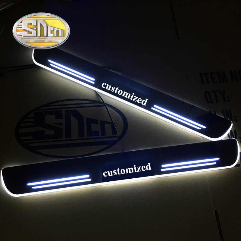 SNCN 4 Uds acrílico móvil LED Bienvenido Pedal coche raspa placa Pedal puerta alféizar Pathway luz para Renault Logan 2007-2018 2019