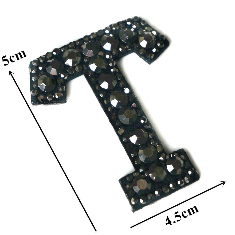 Черные стразы 26 букв алфавита ABC пришить железные нашивки блестящие Значки для имени DIY платье джинсы Аппликации украшения - Цвет: T