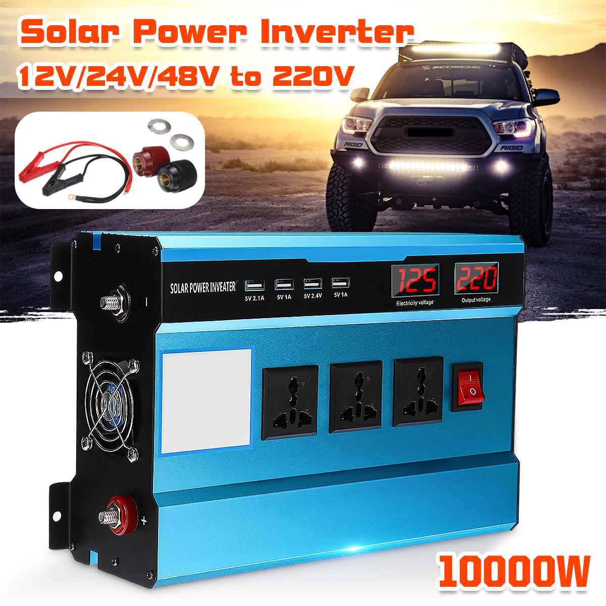 Dual-Digital-Display 10000W Auto Inverter DC 12 V/24 V/48 V Zu AC 220V solar Power Inverter Ladegerät Spannung Konverter Transformator