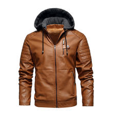 Мужская кожаная куртка с капюшоном бархатная Толстая ветровка