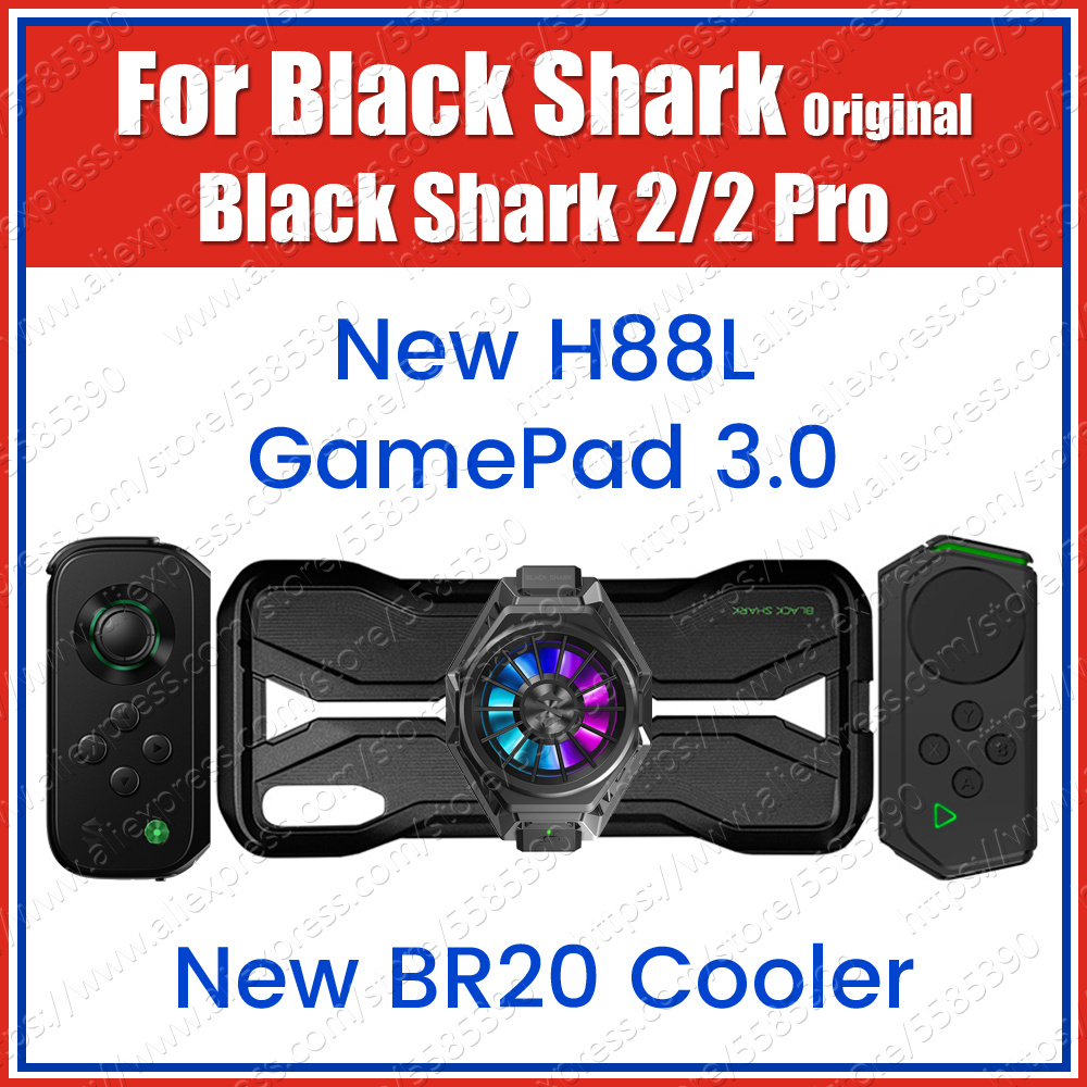 Black Shark 2 Pro Gamepad 3.0 H88L H66L H66RS Left Right Side BR08 Cooling Fan BR20 Cooler With 2 Slide Rail Case Type C Cable