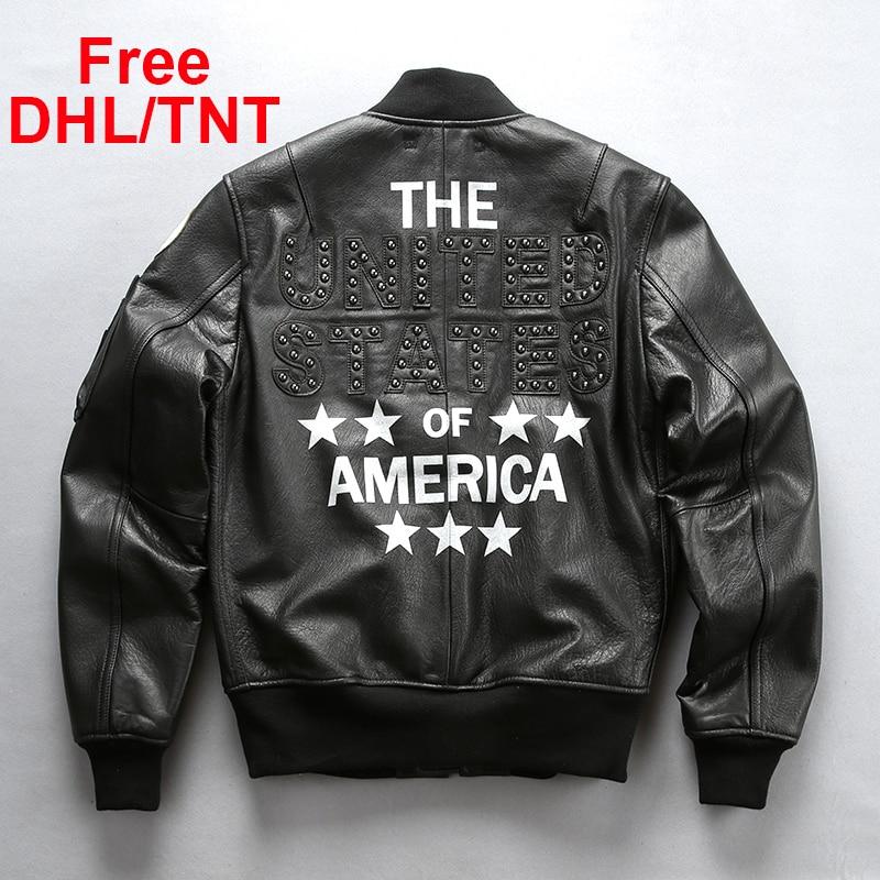 Men's Genuine Leather Jacket Vintage Classic Flight MA1 Rivet Sheepskin Jacket Male Motorcycle Biker Coat Free DHL/TNT Shipping