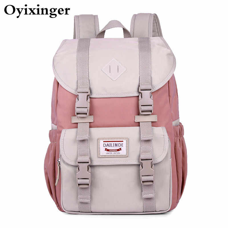 High Quality Canvas Laptop Backpack Women Pink Backpack Schoolbag For Teenager Girls Travel Bagpack Mochila Feminina Sac A Dos