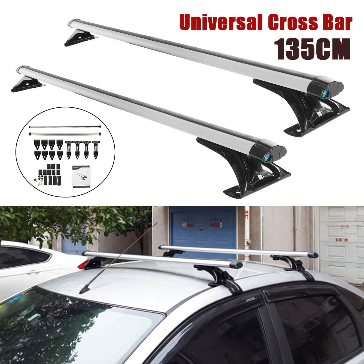 135cm Universal Car Roof Racks Crossbar Auto Top Luggage Support Bar Aluminum Bicycle Carrier Rack Roof Rail For SUV Pickups