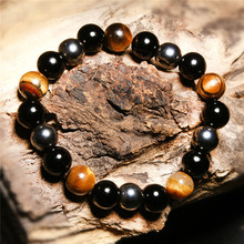 10mm Natural Stone Black Agate Tiger Eye Hematite Ore Bracelet Lucky Beaded Men And Women Bangle Jewelry