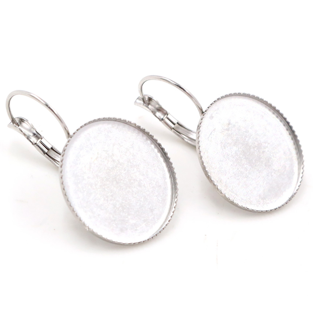 ( Never Fade ) 20mm 10pcs Stainless Steel French Lever Back Earrings Blank/Base,fit 20mm Glass Cabochons,buttons; (M5-38)