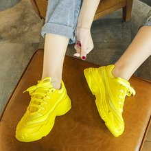 Summer Women Chunky Sneakers Green Yellow Platform Casual Shoes 2019 Colorful Fashion Mesh Dad Tenis Basket Femme