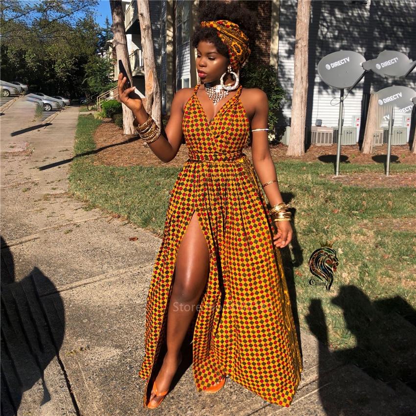 African Clothes 2020 Robe Africaine Fashion Long Dress Split African Dresses For Women Dashiki Print DIY Bandage Sleeveless