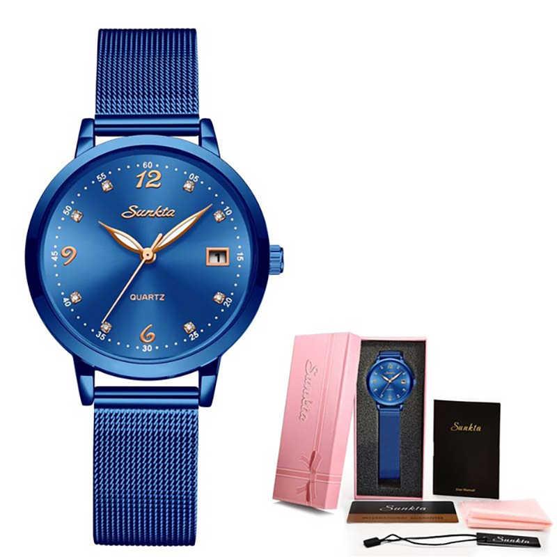 SUNKTA marki luksusowe zegarki kobiety moda sukienka kwarcowy zegarek na rękę panie ze stali nierdzewnej zegarki wodoodporne Relogio Feminino + pudełko