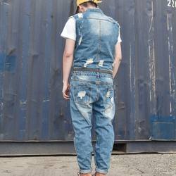 Hombre personalidad extraíble cremallera cintura Jumpsuit agujero rasgado Jeans sin mangas mameluco lavado pantalones vaqueros de mezclilla pantalones 2XL