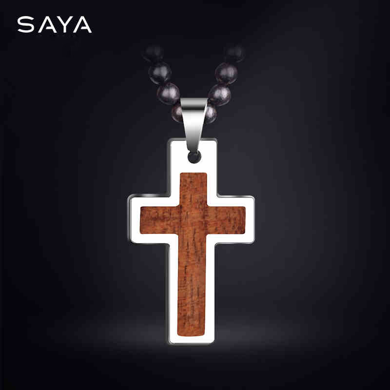 High Polished Tungsten Carbide Cross Pendants inlay Wood with Rose Wood Necklace 70cm Length for Best Gift image