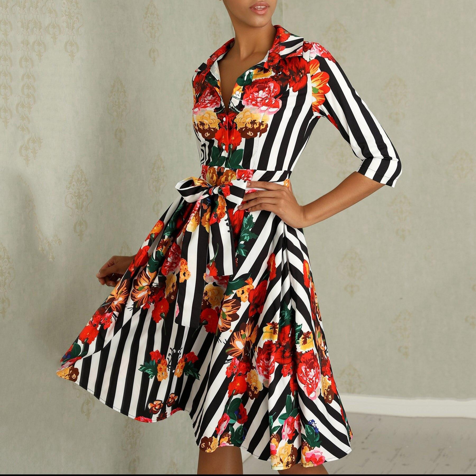 Frauen Sommer Floral Halbe Hülse Kleider Schärpen Damen Revers Hemd Kleid Mid Streifen Gedruckt Kleid - 4
