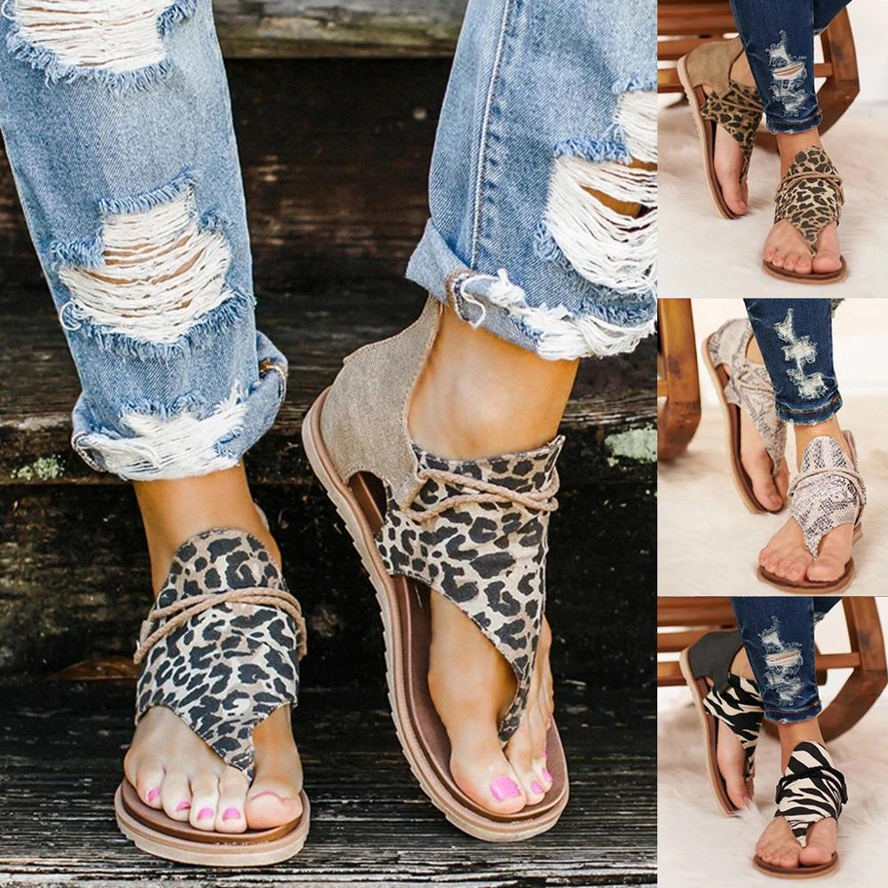 Summer Sandals Women Beach Shoes Ladies Leopard Print Shoes  Woman Flat Sandals Gladiator Sandalias Female Zapatos De Mujer 2020