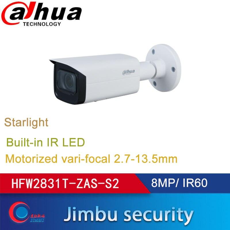 Dahua IP Camera POE 8MP IPC-HFW2831T-ZAS-S2 2.7~13.5mm Motorized Lens IR60M Starlight  IP67 IVS