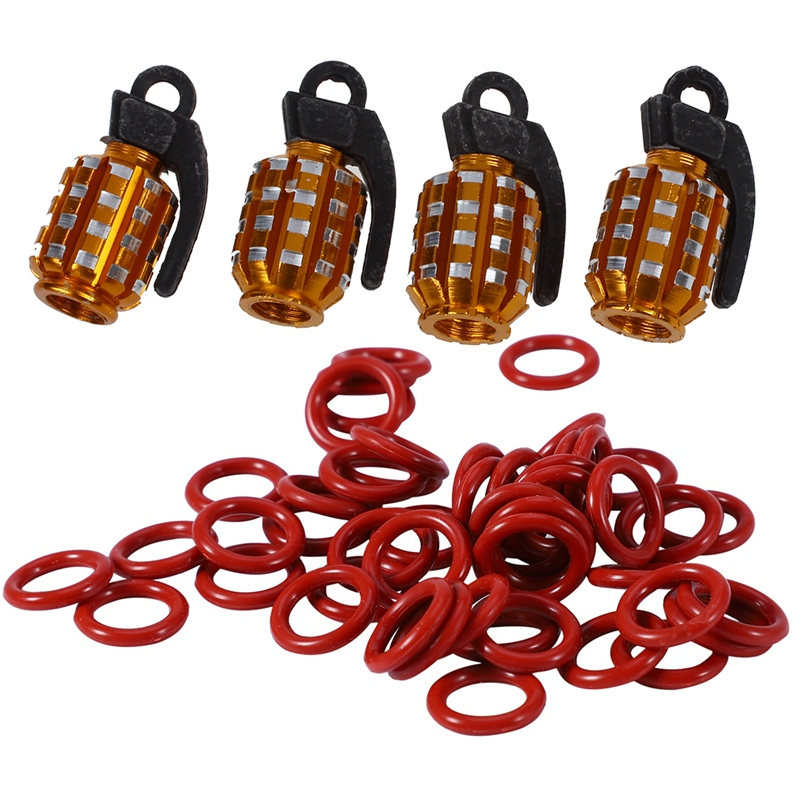 54 Pcs Accessories: 4 Pcs Cool Golden Grenade Shaped Car Auto Tire Valve Caps Cover & 50 Pcs Red Silicone O-Rings Oil Seal Ring