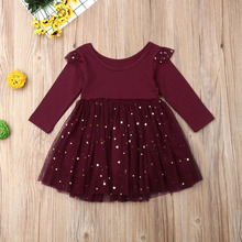 Kids Baby Flower Girls Long Sleeve Stitching Party Sequins Dress