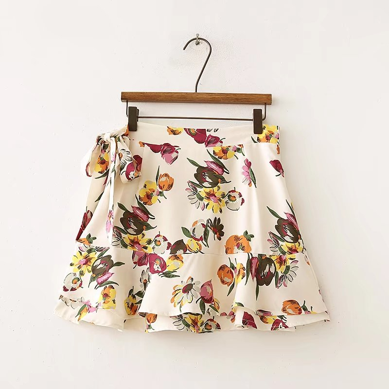 2018 Summer Wear New Style Europe And America WOMEN'S Dress-Style Printed Hem Laminated Decoration Skirt A- Line Short Skirt 012
