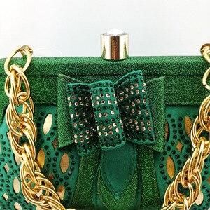 Image 5 - Groene Vrouwen Schoenen En Tassen Set Op Verkoop Nigeriaanse Vrouwen Bruiloft Slippers Met Rhinestone Italiaanse Ontwerp