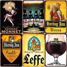 Hertog jan cerveja placa bélgica vintage estanho sinal de casa bar pub decoração homem caverna cartaz stella artois cerveja placa de metal zss58