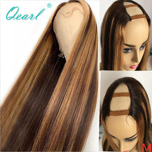 Wig Highlights U-Part Human-Hair Honey-Blonde Glueless Color Straight Women Brazilian