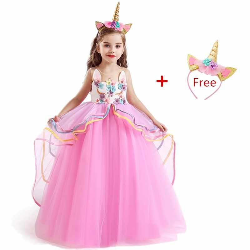 Vestido De Unicornio De Fantasía Arco Iris Para Niñas
