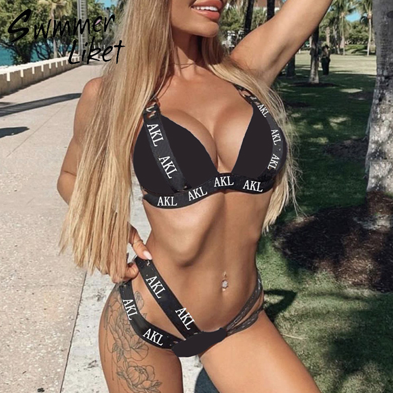 Sexy V Neck Swimwear Women Letter Print Swimsuit Female With Belt High Cut Bathing Suit Bandage Bikini 2019 Push Up Biquini New