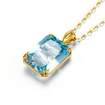 100% Real Silver 925 Pendant 925 Sterling Silver Jewelry New Trendy Aquamarine 14K Gold Pendants Party Girl Women Accessories [meibapj] 925 silver 100