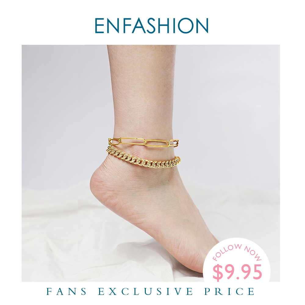 ENFASHION Punk Double Link Chain Leg Bracelet Stainless Steel Gold Color Anklets For Women Fashion Jewelry Bransoletka Na Noge