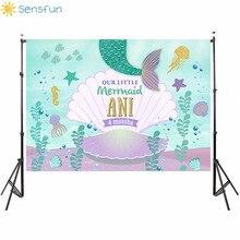 Buy Sensfun 7x5ft Vinyl Custom Photo Studio Background Photography Backdrop Under Sea Little Mermaid Shell Newbron Photo Background directly from merchant!