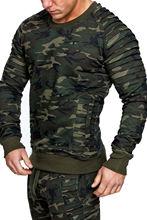 HEFLASHOR men's Sweatshirt Camouflage multi-pleated Striped Shirt Round Neck Sweatshirt Slim Sweatshirt Top 2019 sweatshirt top miss blumarine sweatshirt top