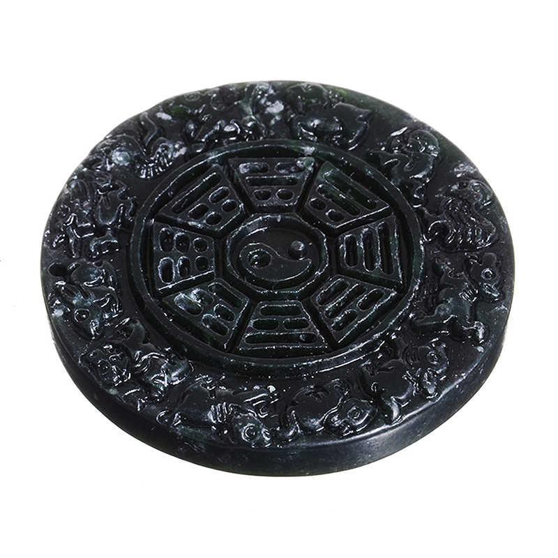 1pc Nero Del Pendente Per Il Cinese Nefrite Naturale Fatti A Mano Intagliare Nero Verde Del Pendente Buddha Drago Fortuna di Buon Auspicio