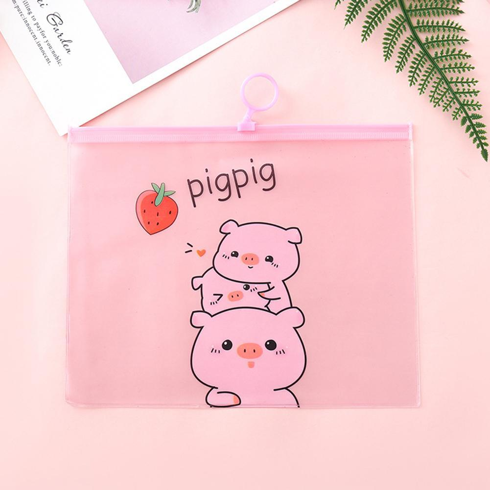 Kawaii PVC Document Bags Cartoon Pig File Folder Pencil Case Stationery Holder Organizer Ring File Bag Pen Paper Contract Bags