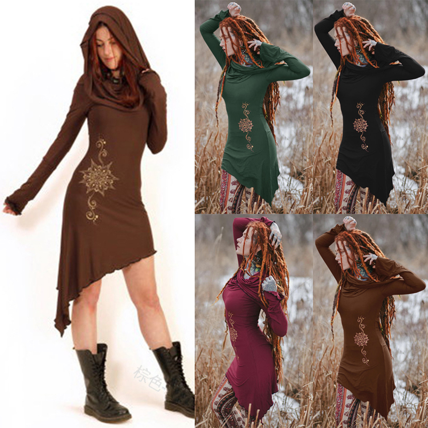 Women Halloween Medieval Cosplay Costumes Vintage Retro Elf Princess Hooded Dress Full Sleeve Gypsy Girls Long Hoodies