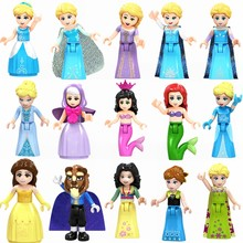 Friend Princess Set Building Construction Toy Hua Mulan Anna Beast Belle Princess Blocks Friends Sets Children Educational Toys(China)