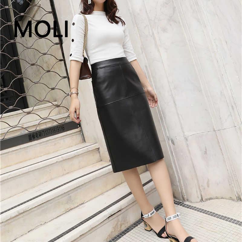 Oryginalna skórzana spódnica kobiet 2019 nowych moda zima czarna skóra owcza ołówek wysokiej talii długa spódnica biurowa, damska spódnice