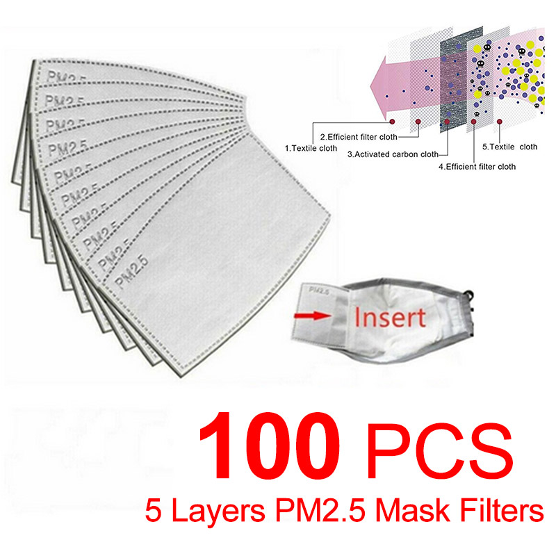 PM2.5 Activated Carbon Filters KF94 N95 FFP3 FFP2 1 Mask Protective Filter Media Insert 5 Layers Personal Care Supplies