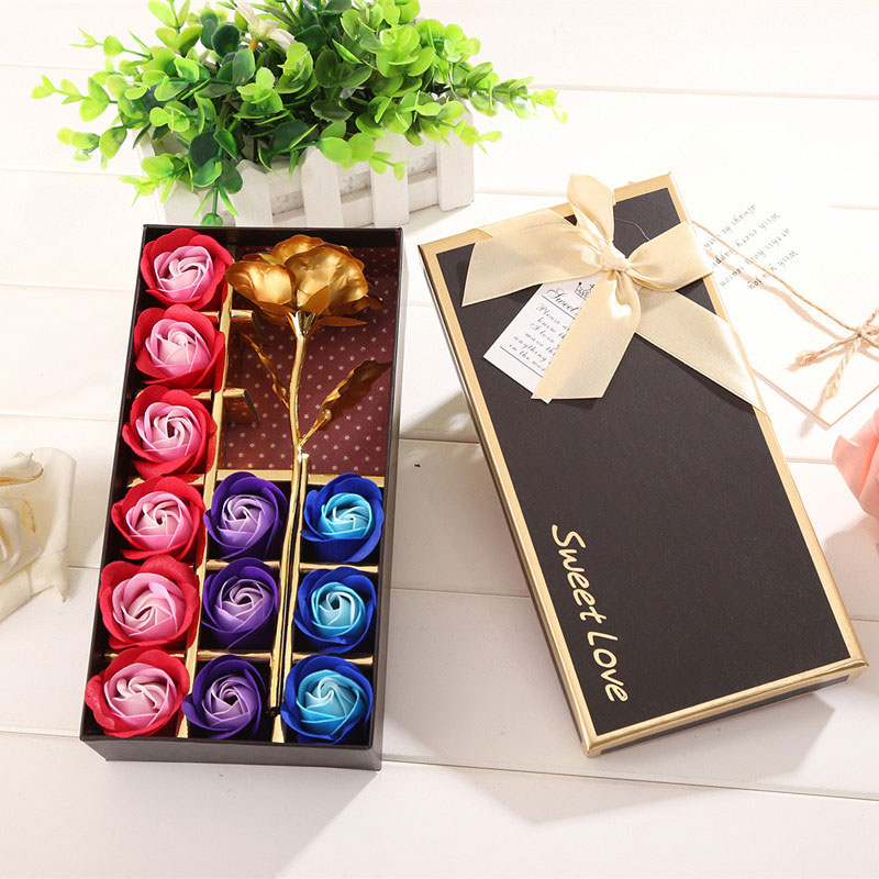 Gift Boxed Soap Flower Valentine'S Day Wedding Greeting Celebration 12pcs Soap Rose Beautiful Little Bear Home Decoration