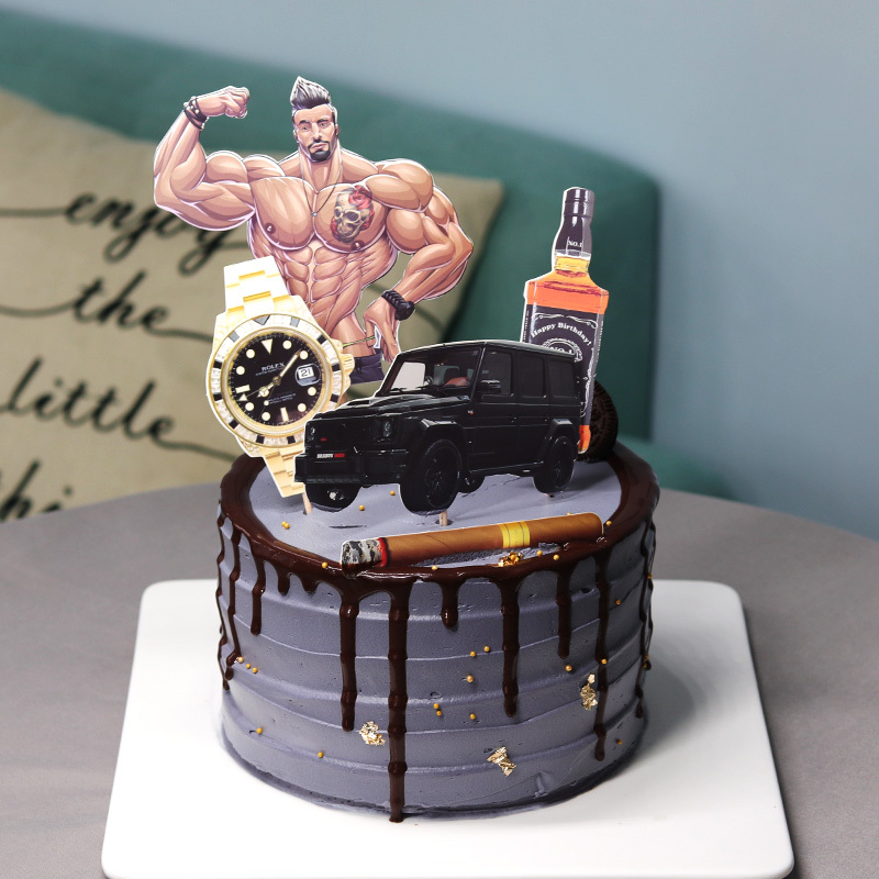 Fabulous Handsome Muscle Fitness Man Wine Watch Car Rich Theme Cake Topper Funny Birthday Cards Online Sheoxdamsfinfo
