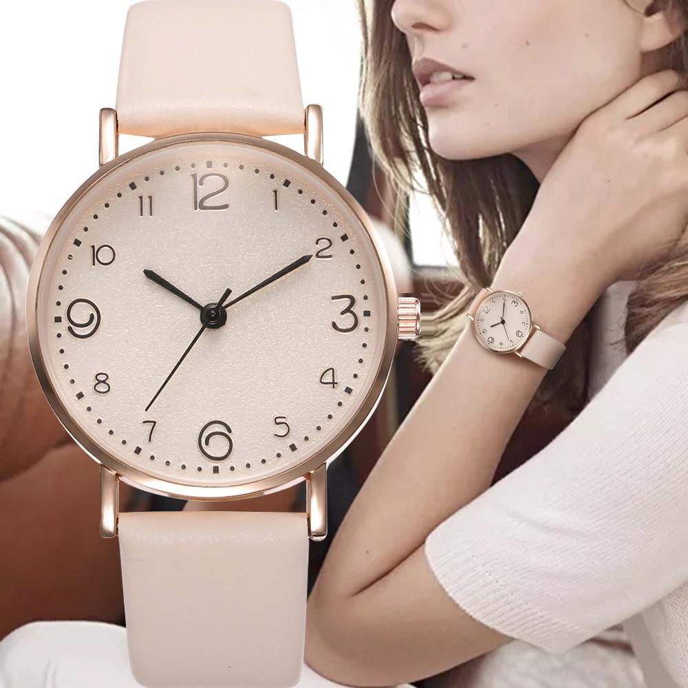 Top Style moda damska luksusowy skórzany pasek analogowy zegarek kwarcowy złoty zegarek damski kobiety sukienka Reloj Mujer czarny zegarek 1