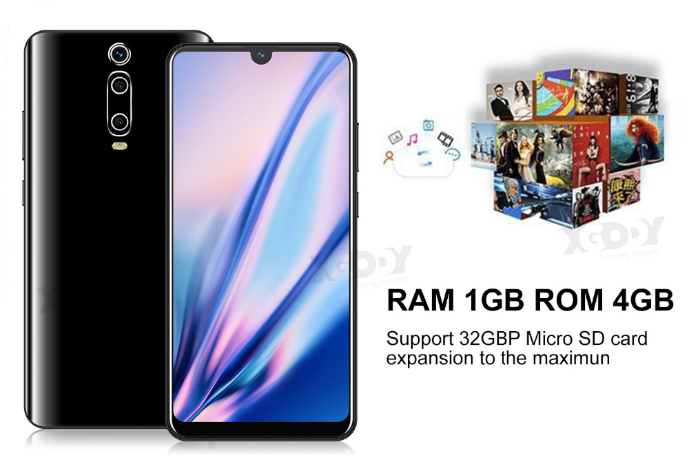 Hf71057649608473e888f231c573ad7442 XGODY 3G Mobile Phone 9T 1GB 4GB 6.26'' QHD Screen MTK6580 Quad Core Android 9.0 Waterdrop Full Screen 2800mAh Smartphone