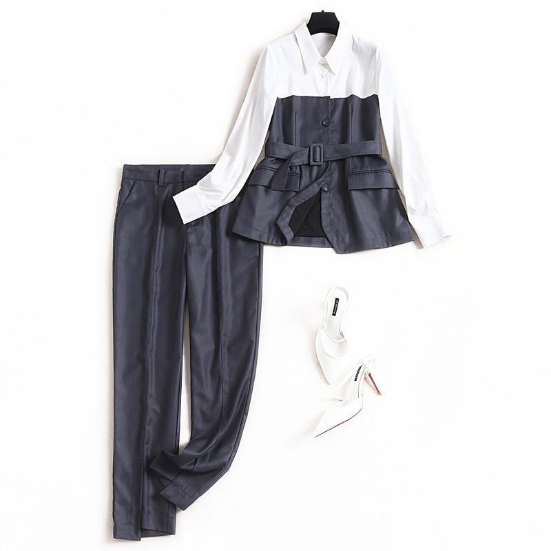New arrival 2020 spring pant suit color block patchwork white shirts office sashes tops + pencil pants elegant two piece set