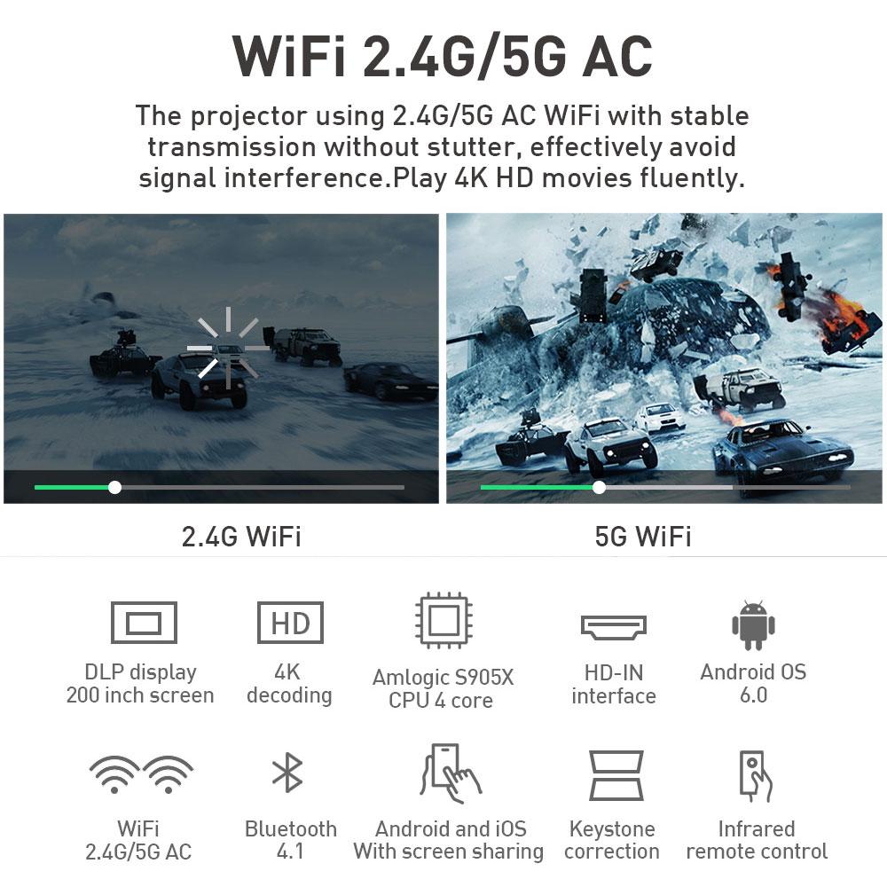 P09 4K Mini Projektoren mit 4000mAh batterie Unterstützung Android Bluetooth Miracast Airplay Handheld Mobile Projektor