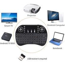 3 renk arkadan aydınlatmalı i8 Mini kablosuz klavye 2.4ghz İngilizce hava fare Touchpad ile dizüstü bilgisayar için Android TV kutusu kullanımı AAA pil
