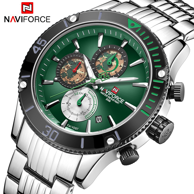 NAVIFORCE Luxury Men Watches Chronograph Design Men Watch Sport Waterproof Stainless Wristwatch Male Quartz Relogio Masculino