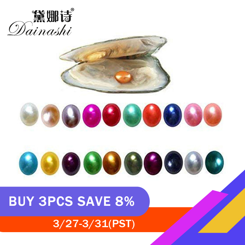 Dainashi 3PC Freshwater Cultured Pearl Oyster With 7-8mm Oval Pearl Inside Random Color Wholesale Price